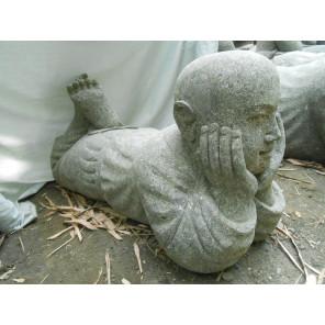 Statue de jardin moine en pierre volcanique 75 cm