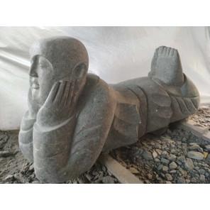 Statue de jardin moine Shaolin en pierre naturelle 1 m