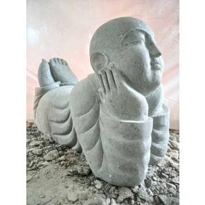 Statue de jardin moine souriant en pierre 100 m