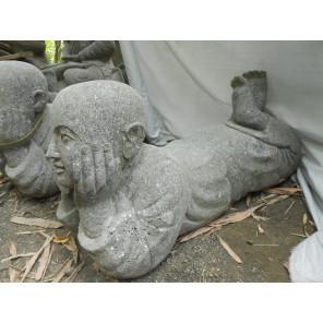 Statue zen en pierre de jardin moine Shaolin 70cm