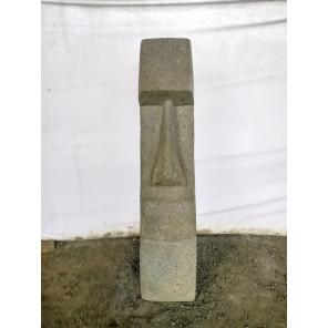 Statue déco jardin Moai en pierre volcanique 120 cm