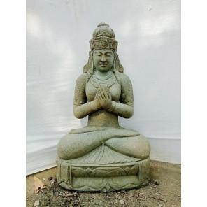 Statue déesse balinaise assise fleur jardin zen 120 cm