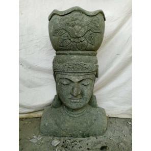 Statue exterieur visage déesse balinaise en pierre volcanique 80 cm