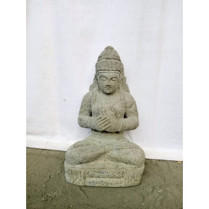 Statue déesse Dewi Tara balinaise assise en pierre naturelle 82 cm