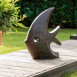 Statue design de jardin poisson 78 cm brun