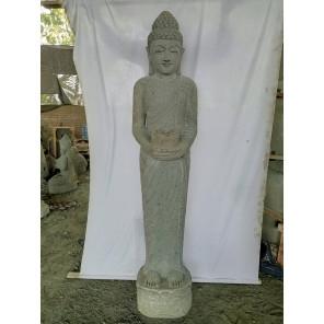 Statue en pierre Bouddha debout offrande 2 m