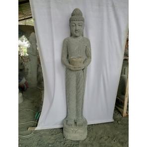 Statue en pierre Bouddha debout prière 2 m