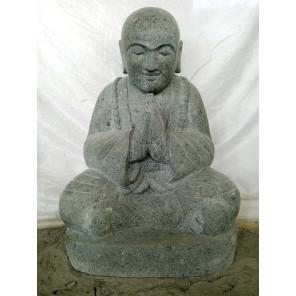 Statue en pierre de lave BOUDDHA RIEUR