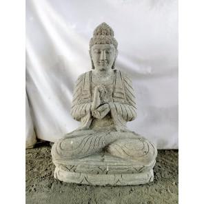 Statue en pierre jardin exterieur Bouddha position chakra