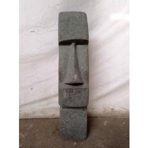 Statue en pierre naturelle Moai jardin zen 100 cm