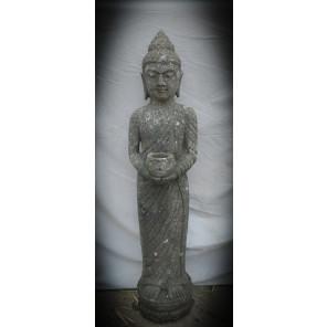 Statue en pierre volcanique Bouddha debout avec bol 1m