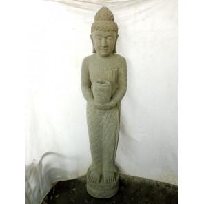 Statue en pierre volcanique Bouddha debout chakra 1m50