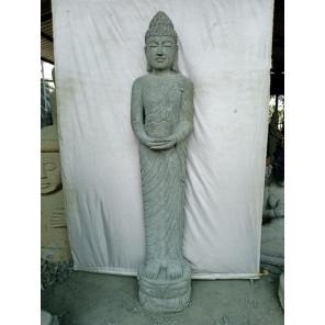 Statue en pierre volcanique Bouddha debout prière 2 m