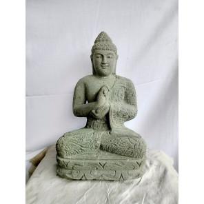 Statue en pierre volcanique jardin exterieur Bouddha position chakra 61 cm