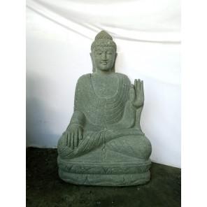 Statue exterieur Bouddha assis pierre volcanique position méditation 1m