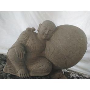 Statue extérieur de jaridn zen moine shaolin en pierre 1 m