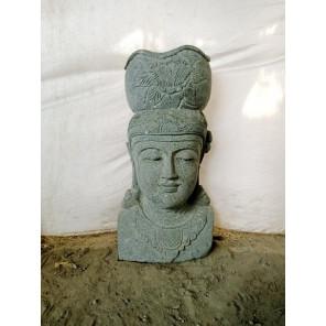 Statue exterieur pot déesse balinaise en pierre volcanique 80 cm