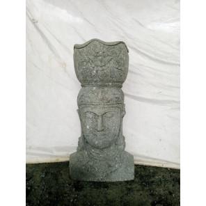 Statue exterieur pot déesse balinaise en pierre volcanique 1m