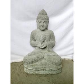 Statue jardin Bouddha assis pierre volcanique position Chakra 49 cm