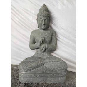 Statue jardin Bouddha assis pierre volcanique position Chakra cm