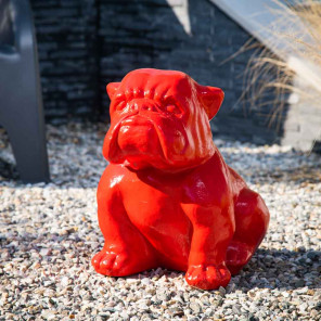 statue bulldog rouge jardin