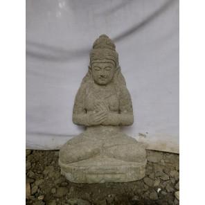 Statue jardin en pierre naturelle déesse assise 1m20