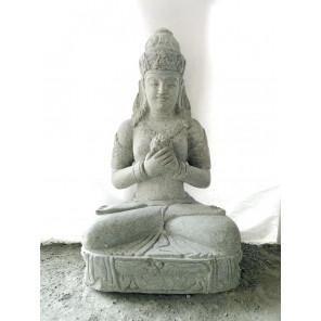 Statue jardin en pierre naturelle déesse balinaise fleur 1m