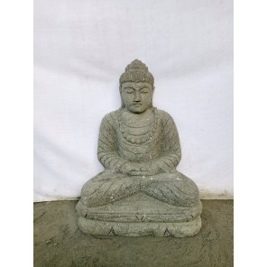 Bouddha assis pierre volcanique collier 50 cm