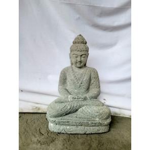 Statue jardin exterieur Bouddha assis pierre volcanique position offrande 45 cm