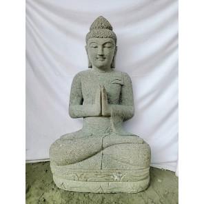 Statue jardin extérieur Bouddha pierre volcanique position priere 1 m
