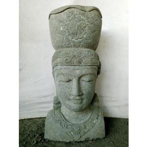 Statue jardin pierre volcanique pot déesse balinaise 80 cm