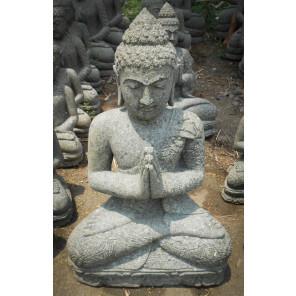 Statue jardin zen Bouddha assis en pierre naturelle en prière 83cm