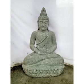 Statue jardin zen Bouddha assis en pierre volcanique offrande 83 cm