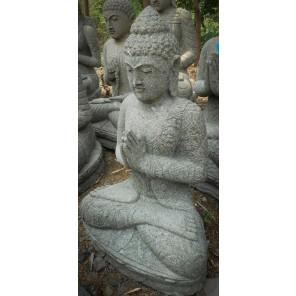 Statue jardin zen Bouddha assis en pierre volcanique prière 84cm