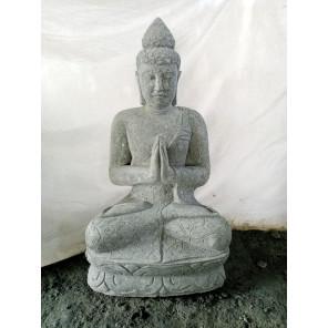 Statue jardin zen Bouddha pierre volcanique position Prière 98 cm