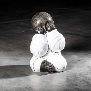 Statue moine de la sagesse grand modèle Blanc 49 cm