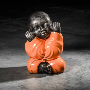 Statue moine de la sagesse grand modèle Orange 49 cm