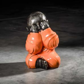 Statue Moine de la sagesse orange 49 cm