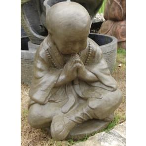 Statue moine shaolin assis brun antique 50 cm