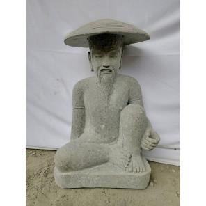Statue pêcheur japon en pierre volcanique 80 cm