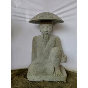 Statue pêcheur japon pierre volcanique de 80 cm