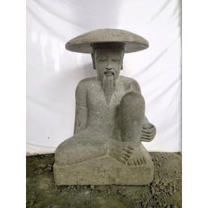 Statue pêcheur japonais en pierre volcanique 80 cm