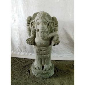 Statue sculpture en pierre naturelle GANESH 63 cm jardin extérieur