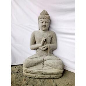 Statue zen Bouddha pierre volcanique position Chakra 1m