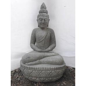 Statue zen en pierre volcanique Bouddha debout 1m