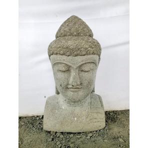 Statue zen exterieur buste Bouddha pierre volcanique 70 cm