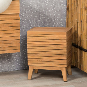 Teak bathroom laundry basket