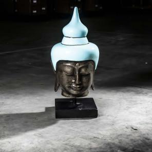 Tête bouddha grand modèle Bleu turquoise 73 cm