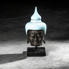 Tête bouddha moyen modèle Bleu turquoise 58 cm