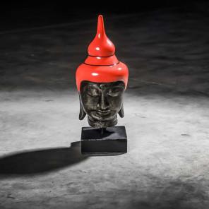 Tête bouddha petit modèle Rouge 40 cm